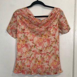 JBS Floral Print Drape Neck Blouse